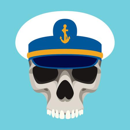 human skull in cap vector illustration flat style  front side Illustration