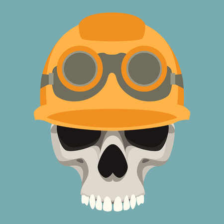 human skull in helmet vector illustration flat style  front side Vectores