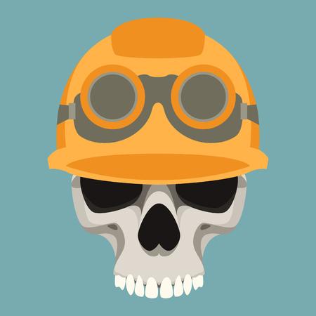 human skull in helmet vector illustration flat style  front side Illustration