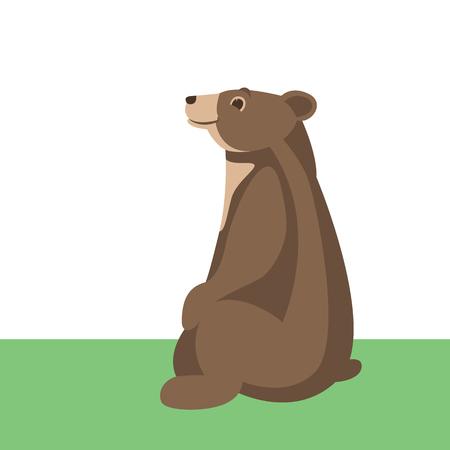 dessin animé ours illustration vectorielle côté profil de style plat
