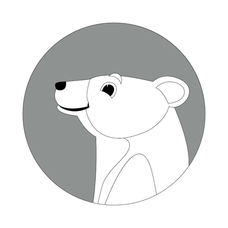 cartoon bear head  vector illustration  lining draw profile side  イラスト・ベクター素材