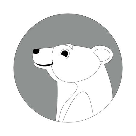 cartoon bear head  vector illustration  lining draw profile side Illustration