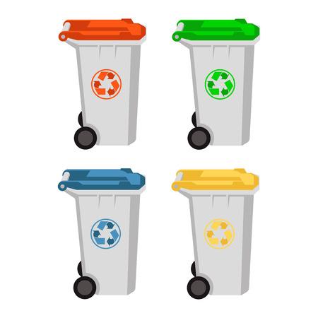 set di illustrazione vettoriale di bidone della spazzatura con ruote stile piatto Vettoriali