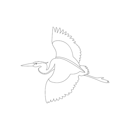 the heron is flying vector illustration   lining draw  profile view