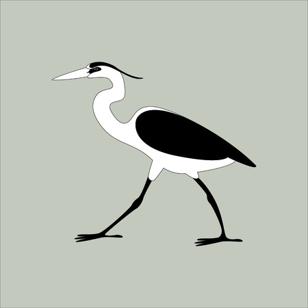 heron walking vector illustration  profile view