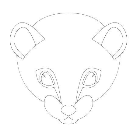 cartoon weasel face  vector illustration  lining draw front view