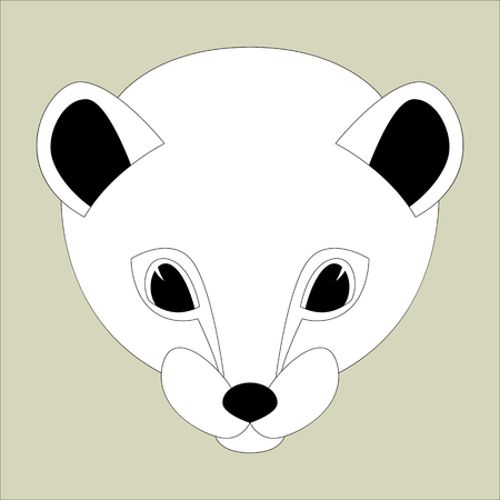 cartoon weasel face  vector illustration flat style  front view Illustration