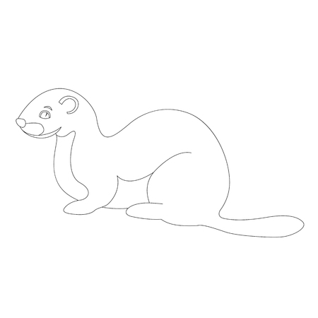 cartoon weasel vector illustration  lining draw  profile view