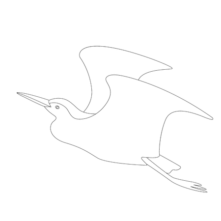 heron  vector illustration   lining draw  profile view