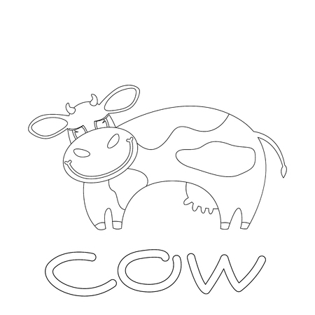smiling cow . cartoon vector illustration . lining draw