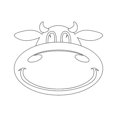 cartoon cow face . lining draw .front view.vector illustration Ilustração