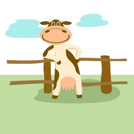 smiling cow standing near the fence. cartoon vector illustration