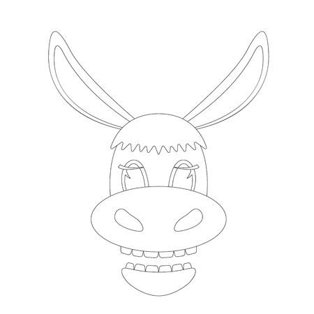 donkey cartoon face. lining draw .front view  イラスト・ベクター素材