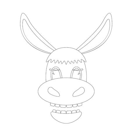 donkey cartoon face. lining draw .front view Ilustração