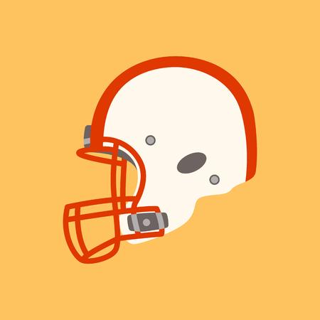 white football helmet , flat style,profile view