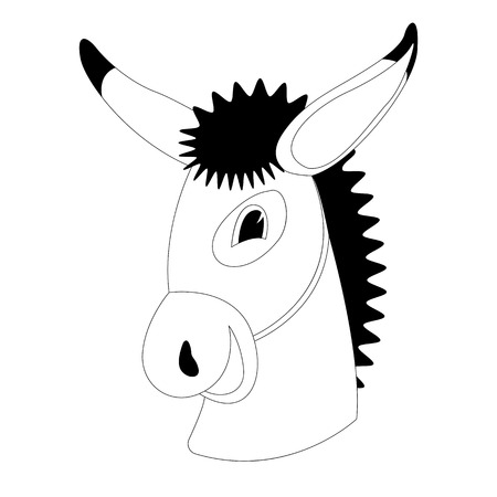 donkey cartoon face. lining draw .front view