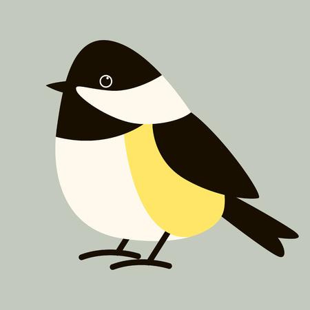 stylized tit bird ,flat style ,profile  view