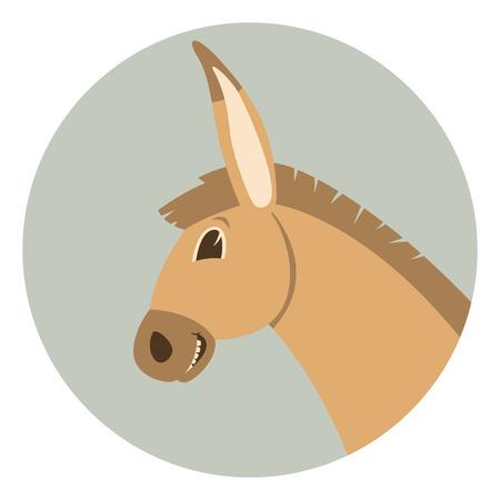donkey cartoon face.flat style. profile view Illustration