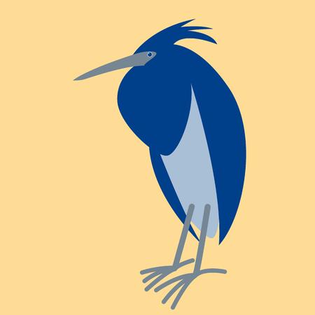 blue heron bird,stylized vector illustration, profile view