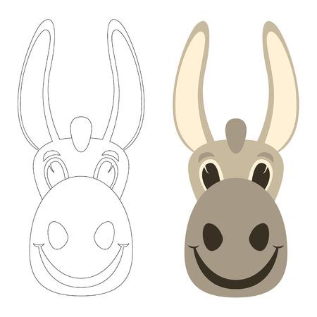 donkey cartoon face.flat style.front view set