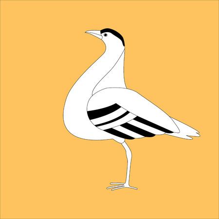 bustard bird ,stylized vector illustration, profile view
