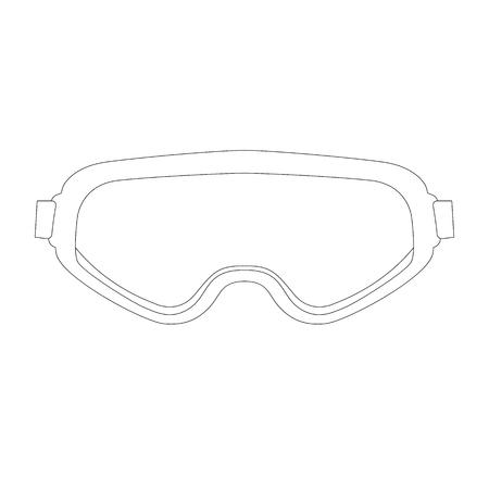 goggles, vector illustration. lining draw front view Illusztráció