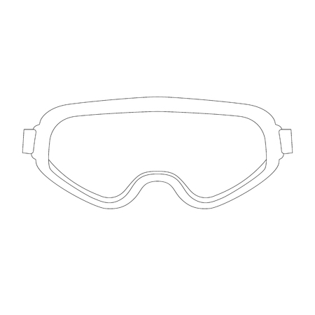 goggles, vector illustration. lining draw front view Ilustração