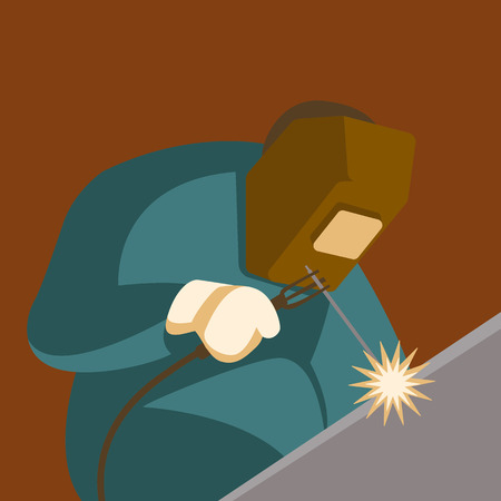 welder, vector illustration.flat style,front view