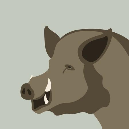 wild boar, vector illustration.flat style, profile side