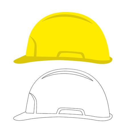 worker safety helmet, vector illustration.flat style, profile side Ilustração
