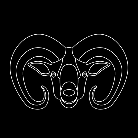 ram head, vector illustration ,  lining draw, front view Illustration