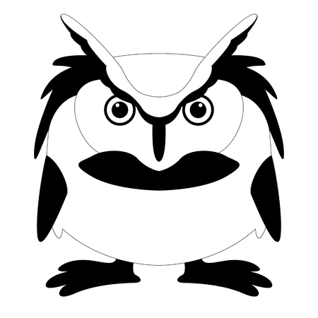 cartoon owl , vector illustration , black - white draw ,front view