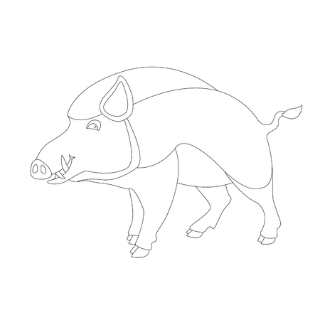 cartoon wild boar, vector illustration,   lining draw ,profile view