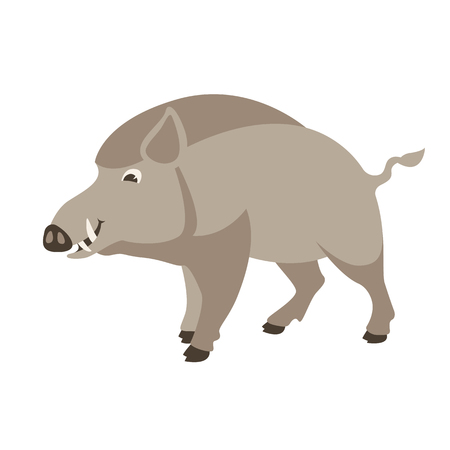 cartoon wild boar, vector illustration, flat style, profile view