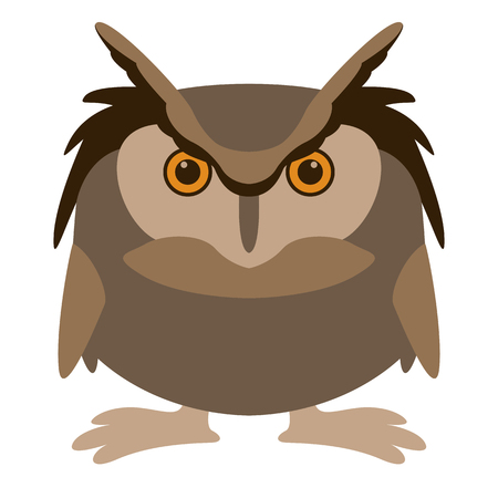 cartoon owl , vector illustration ,  flat style, front view