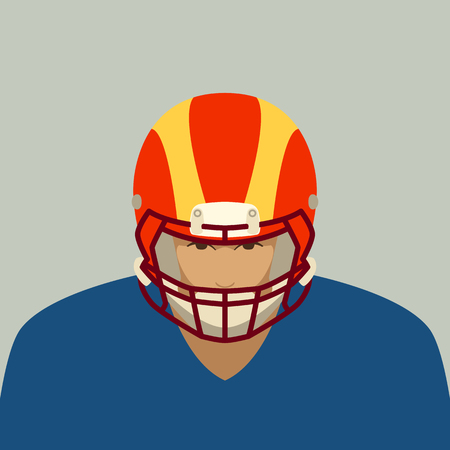 a player of American football, vector illustration ,flat style