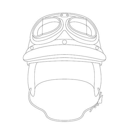 classic motorcycle helmet , vector illustration , lining draw  ,front view Ilustração