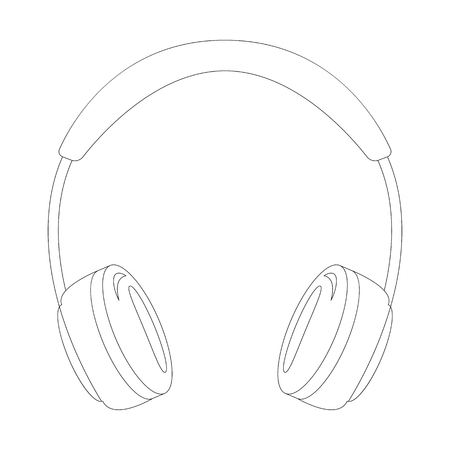 headphones,  vector illustration ,  lining draw  ,front view