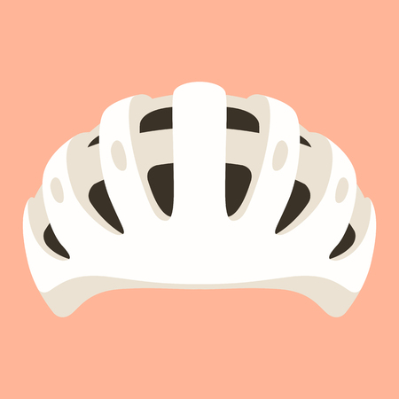 white bicycle helmet, vector illustration ,  flat style ,front view