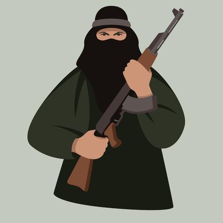 terrorista con pistola, illustrazione vettoriale, stile piatto, vista frontale
