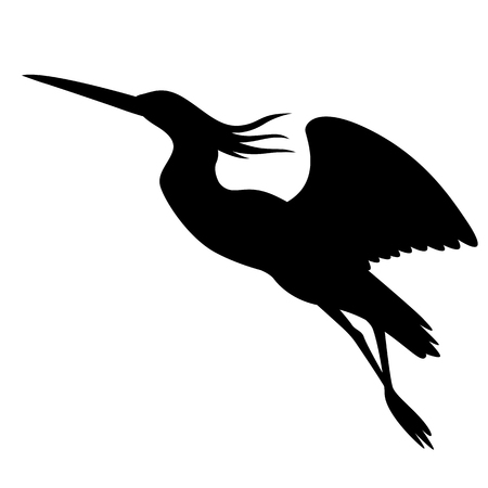 heron in flight , vector illustration ,  black silhouette , profile view