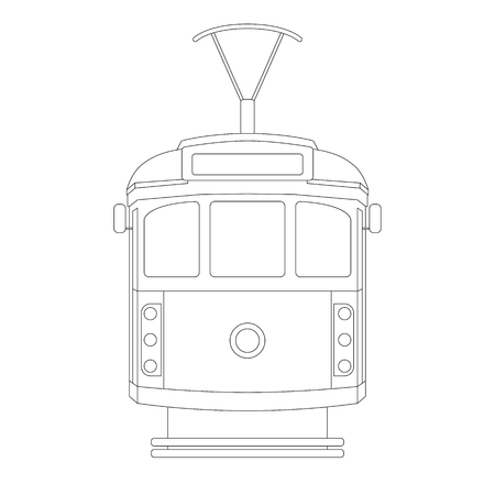 vintage tram  ,vector illustration ,  lining draw  , front view