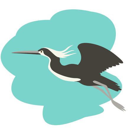 heron in flight , vector illustration , flat style , profile view