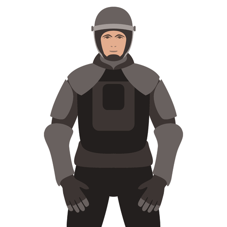 Police in armor ,vector illustration, flat style , front view Illustration
