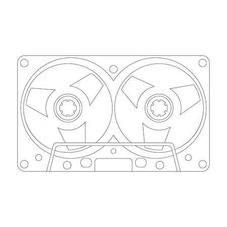 compact cassette, vector illustration , lining draw
