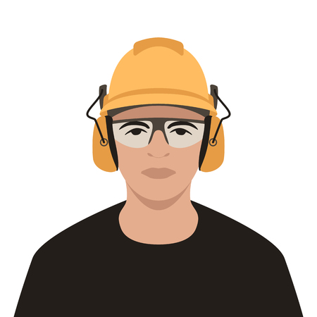 worker in helmet ,vector illustration , flat style , front view