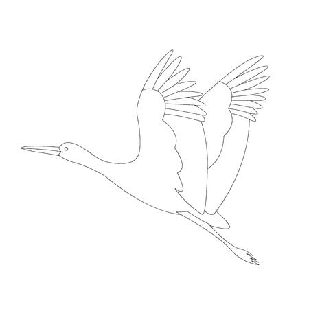 stork bird flying, vector illustration ,  lining draw Ilustração