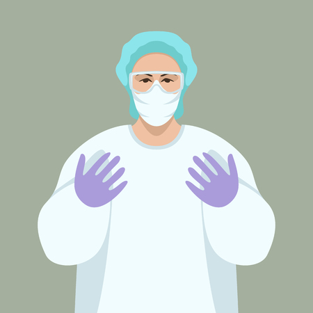 doctor surgeon ,vector illustration,front view