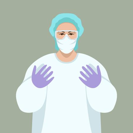 lekarz chirurg, ilustracja wektorowa, widok z przodu Ilustracje wektorowe