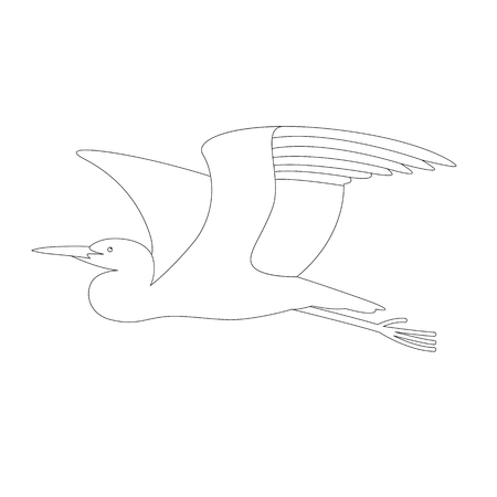 flying  heron ,vector illustration, profile view , lining draw